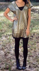gold shimmer tee shirt dress - modern ego